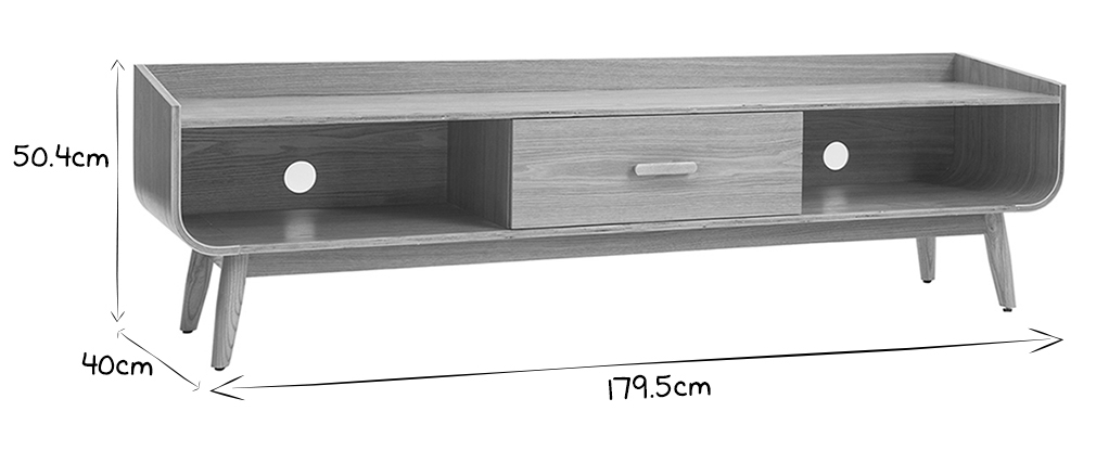 Meuble TV scandinave frêne 180 cm HALLEN
