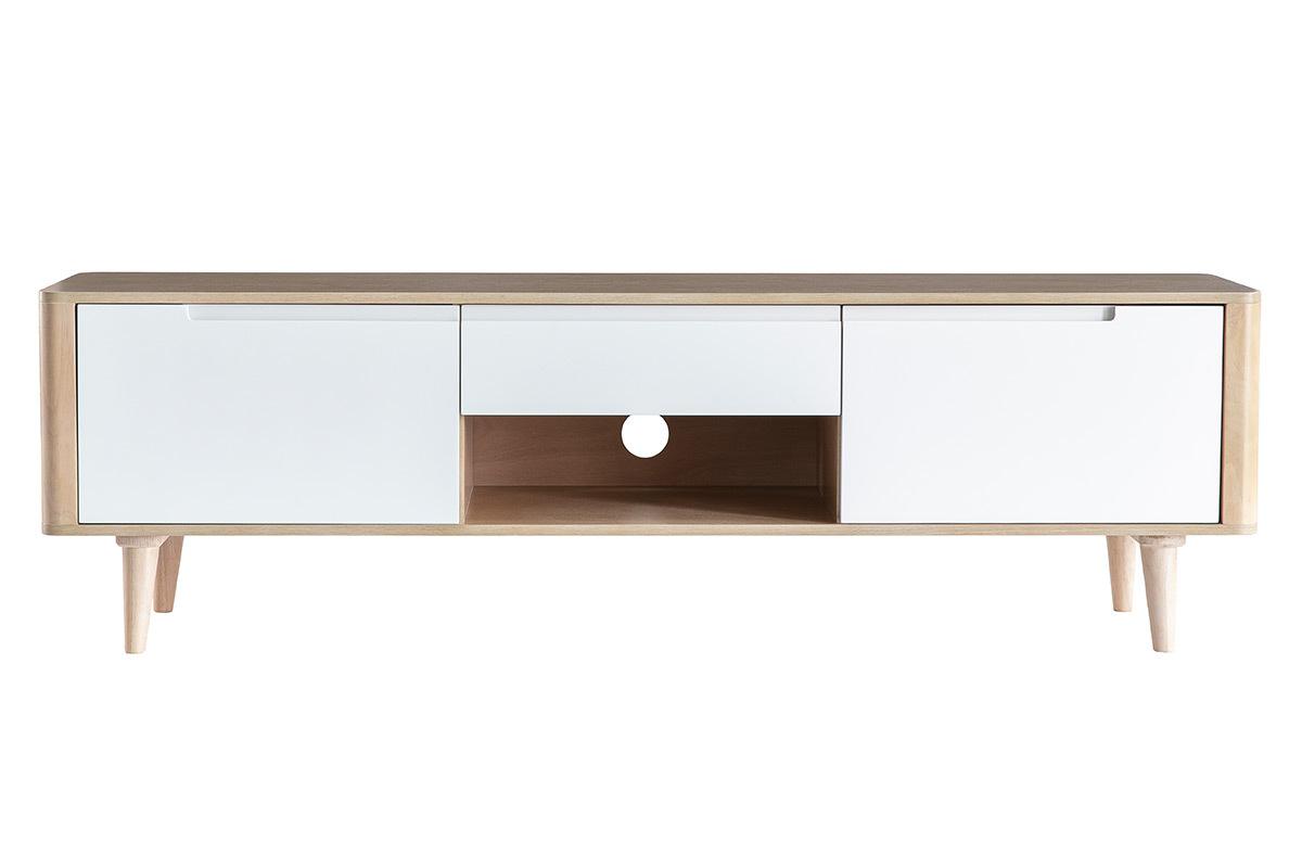 Meuble Tv Table Basse Assorti meuble tv scandinave frêne et blanc gotland - miliboo