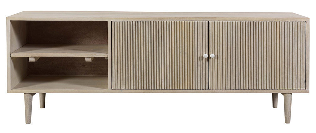 Meuble tv vintage en bois de manguier path miliboo st phane plaza miliboo - Meuble tv miliboo ...