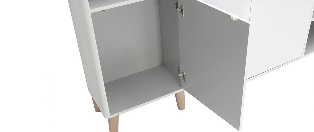 Meubles de salle de bains avec colonne et miroir blanc et bois (sans vasque) LAÏTA