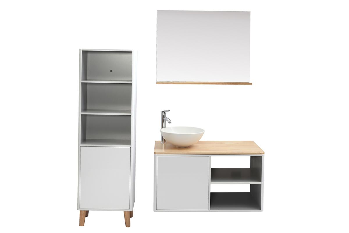 Meubles de salle de bains avec colonne et miroir blanc et ...