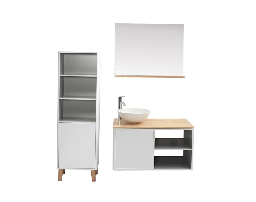 Meubles de salle de bains avec colonne, vasque et miroir ...