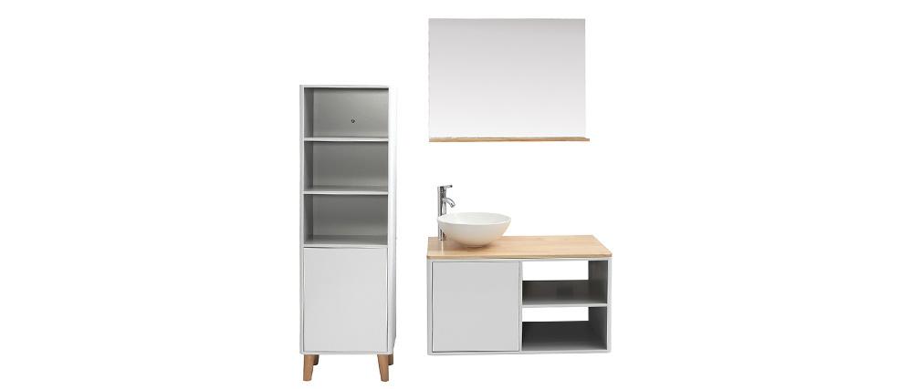 Meubles de salle de bains avec colonne, vasque et miroir blanc et ...