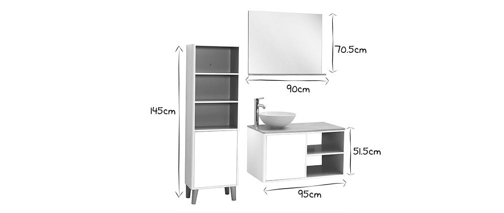 Meubles de salle de bains avec colonne, vasque et miroir blanc et bois LAÏTA