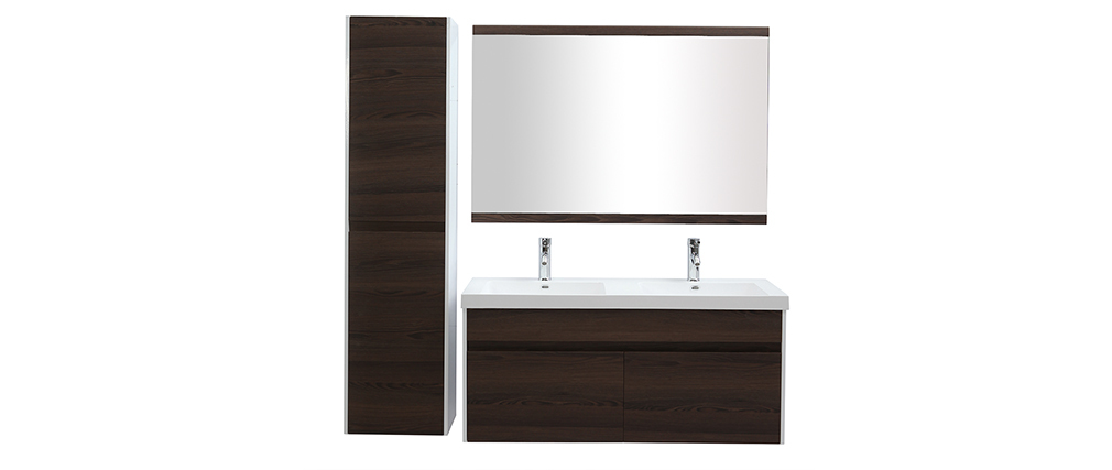Meubles de salle de bains avec double vasque, miroir et rangements blanc et bois foncé GANFO