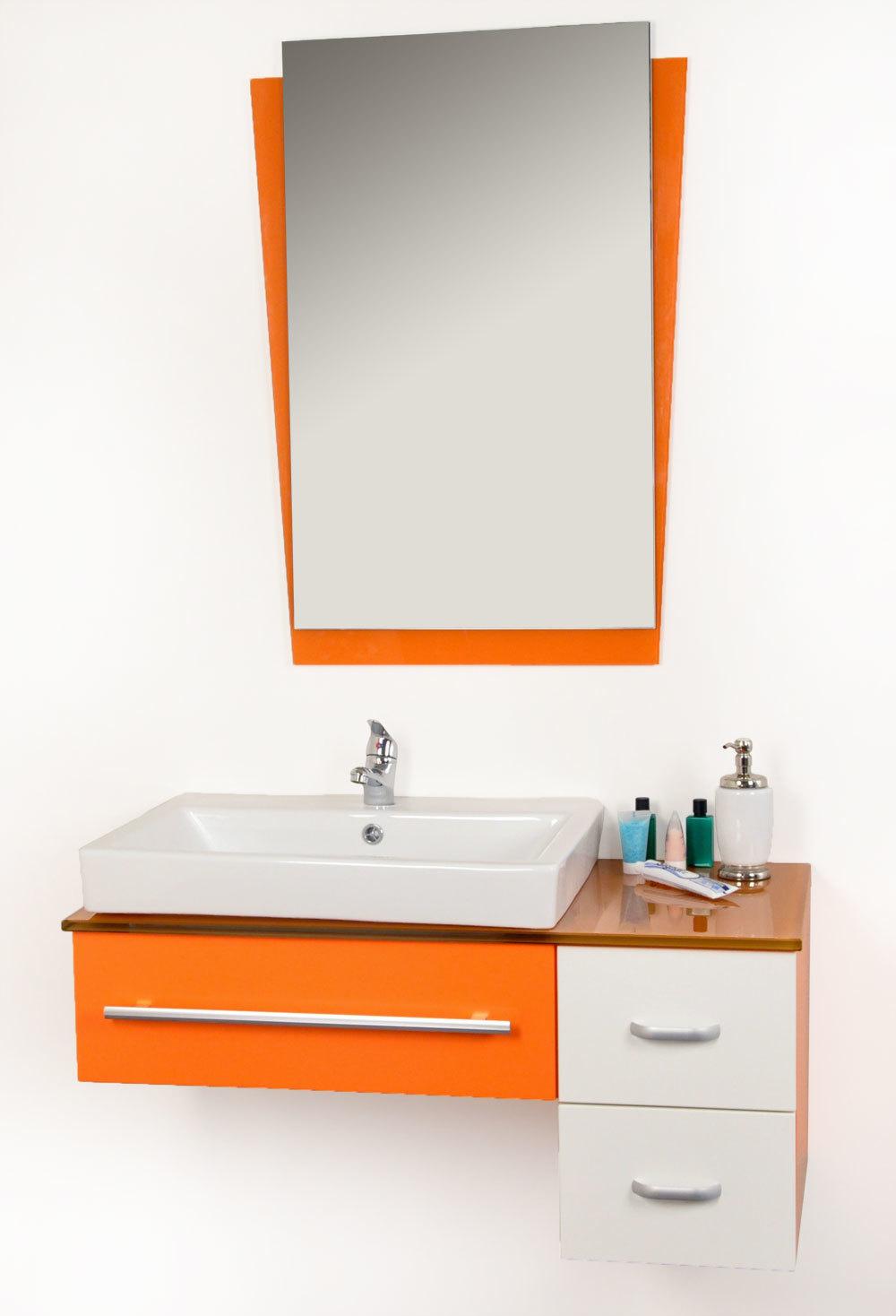 Armoire salle de bain orange for Meuble salle de bain orange