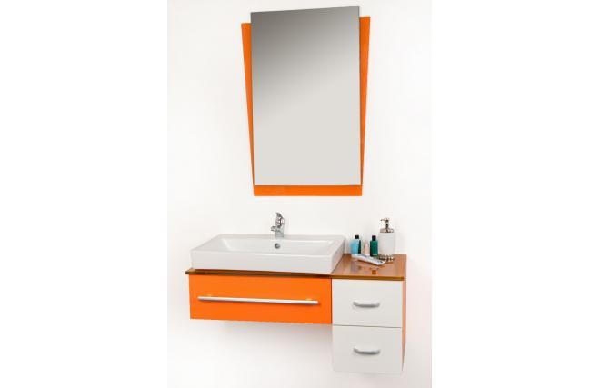Meubles de salle de bains orange Pop : vasque, meuble sous vasque et ...