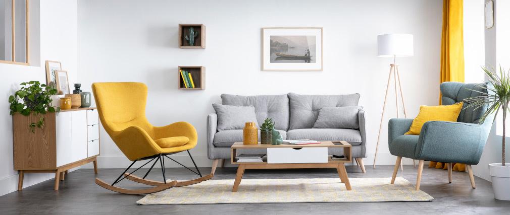 Miliboo & Stéphane Plaza - Table basse scandinave blanc et bois clair NEELA
