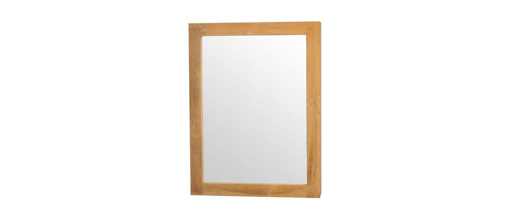 Miroir de salle de bain en teck avec rangement design - Miroir salle de bain avec rangement ...