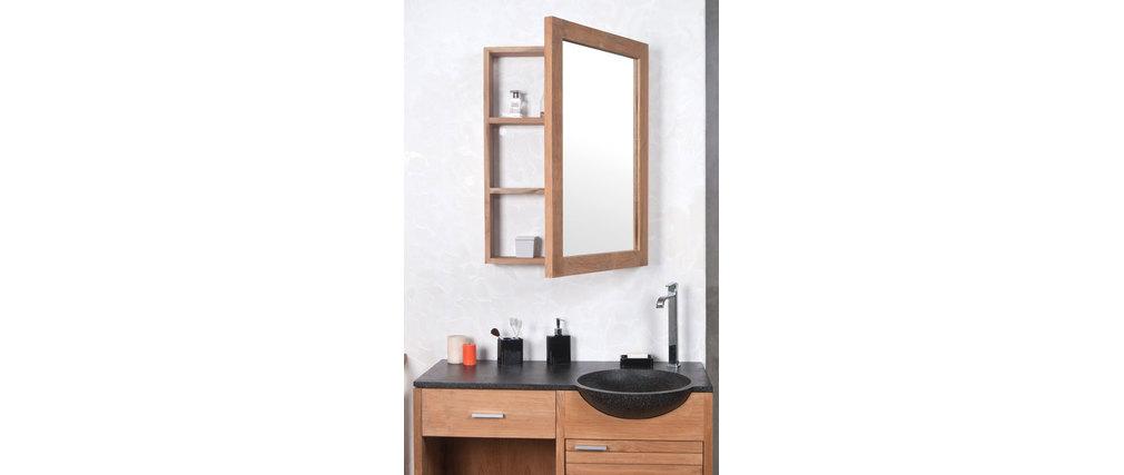 Miroir de salle de bain en teck avec rangement design - Miroir suspendu salle de bain ...