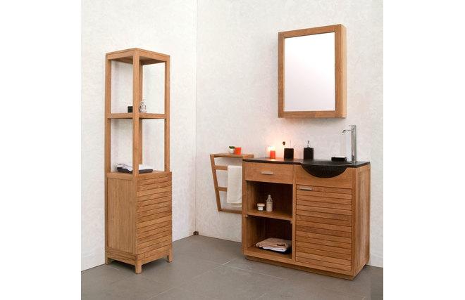 Miroir de salle de bain en teck design arika miliboo for Miroir salle de bain teck