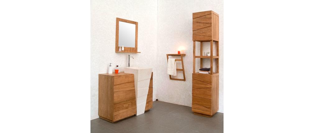 Miroir Salle De Bain Tablette Bois : Miroir de salle de bain en teck design ARU, aspect technique :