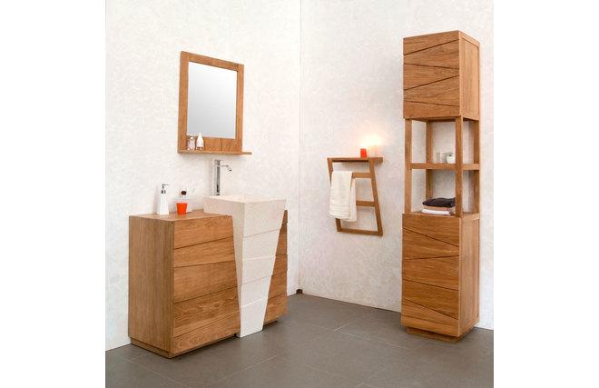 Miroir de salle de bain en teck design aru miliboo - Miroir teck salle de bain ...