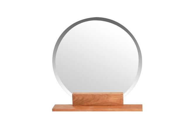 Miroir de salle de bain rond en teck design aoki miliboo for Miroir avec tablette salle de bain