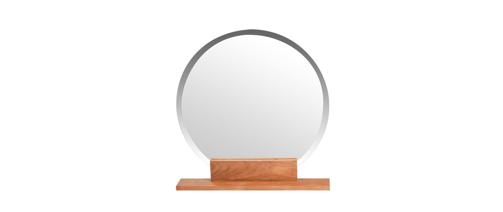 miroir de salle de bain rond en teck design aoki miliboo. Black Bedroom Furniture Sets. Home Design Ideas