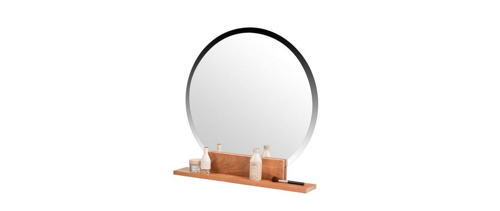 Miroir de salle de bain rond en teck design aoki miliboo - Miroir salle de bain rond ...