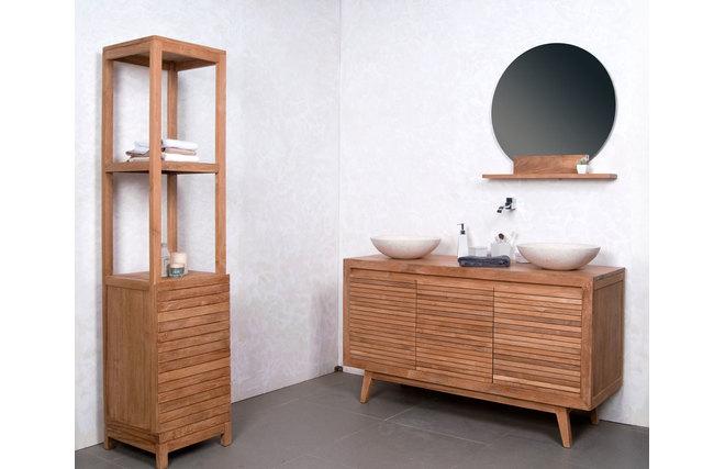Miroir de salle de bain rond en teck design aoki miliboo for Miroir des modes 427