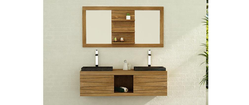 Miroir de salle de bain teck 140 x 70 anko miliboo for Miroir salle de bain 50 x 70