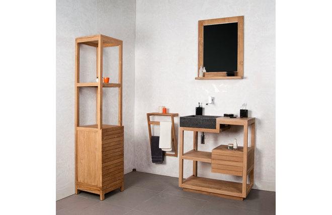 Miroir de salle de bain teck design ano miliboo - Miroir teck salle de bain ...
