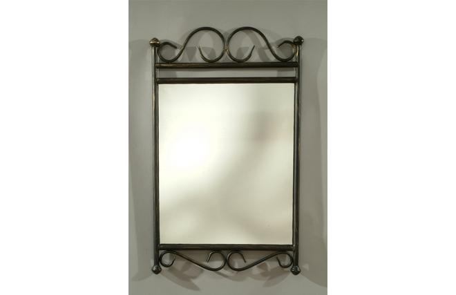 Miroir en acier style fer forg florence miliboo for Miroir en fer forge