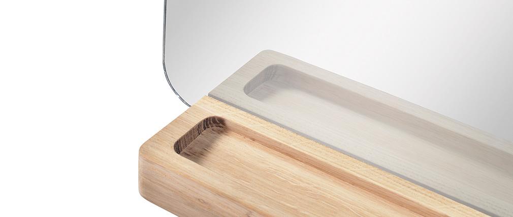 Miroir rectangulaire connecté design avec support en chêne EKKO