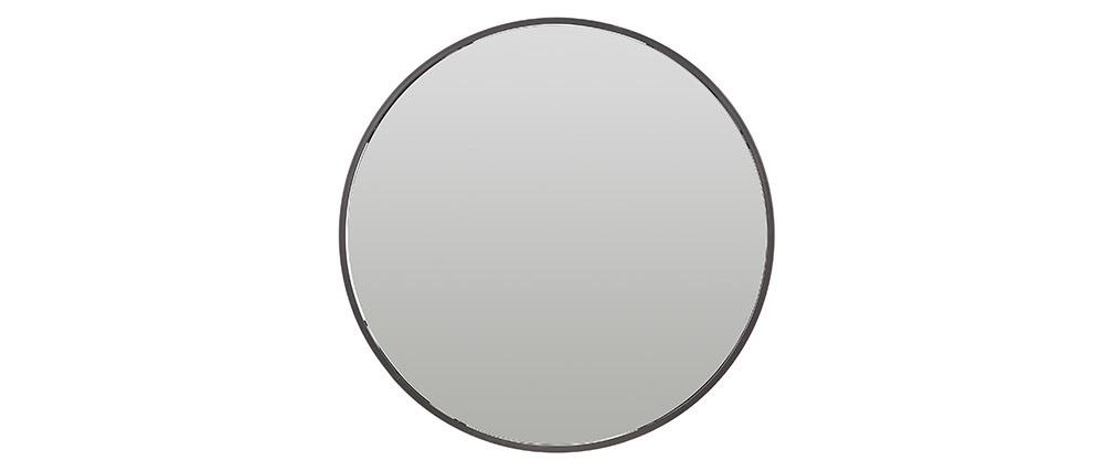 Miroir rond avec rangement métal noir 60cm DOT