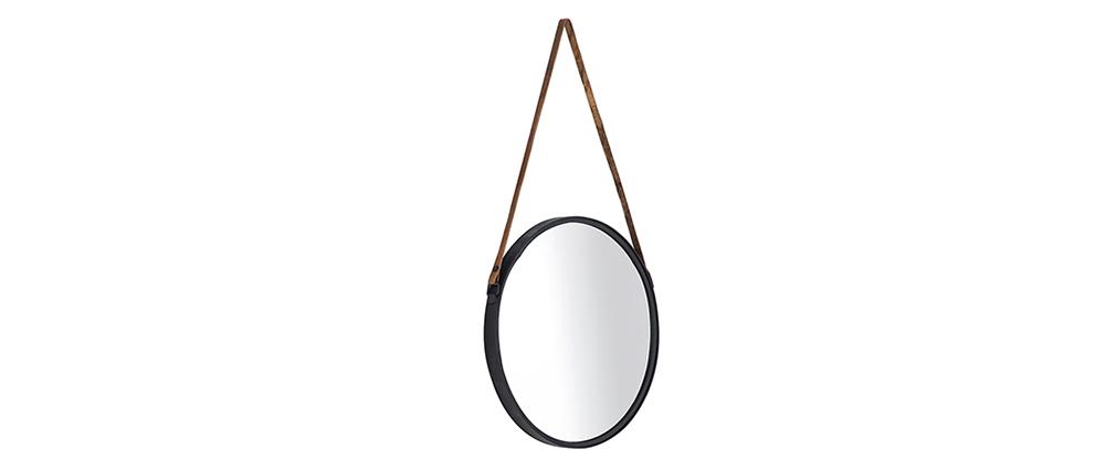Miroir rond design métal noir 40cm KARL