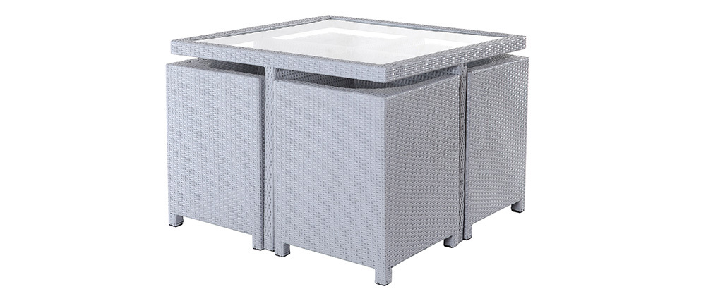 Mobilier de jardin résine tressée table et chaises gris GRECQUES