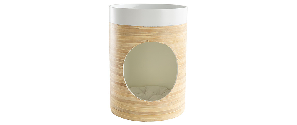 Niche design pour chat  et chien en bambou laquée blanche YUCCA
