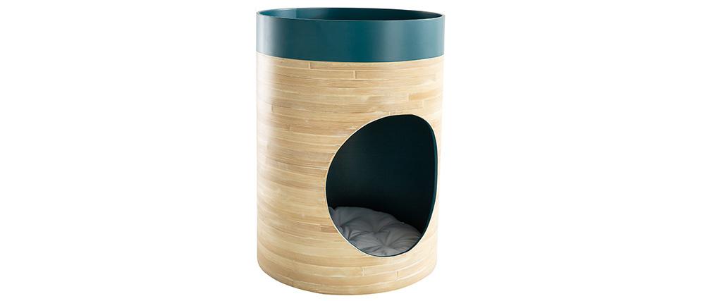 Niche design pour chat et chien en bambou laquée bleu canard YUCCA