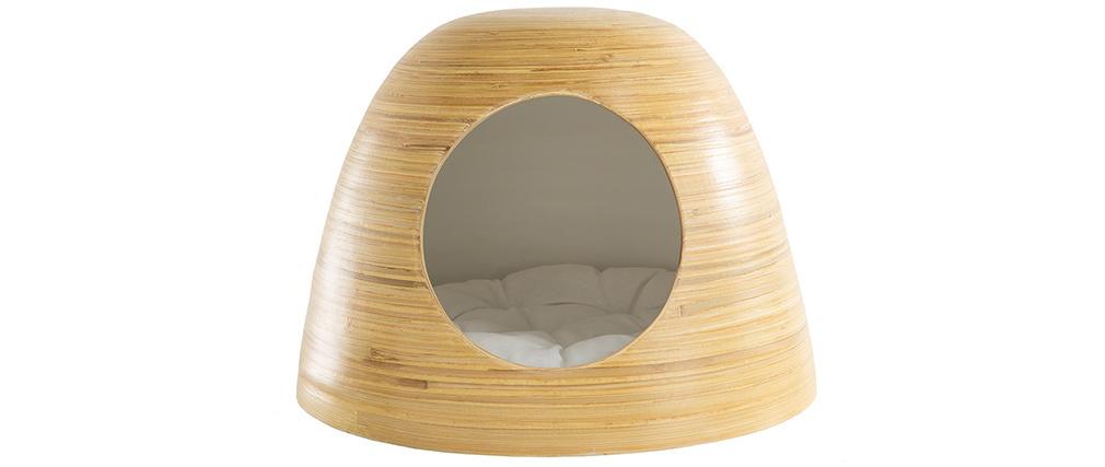 Niche pour chat et chien design en bambou laquée blanche YODO