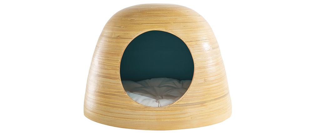 Niche pour chat et chien design en bambou laquée bleu canard YODO