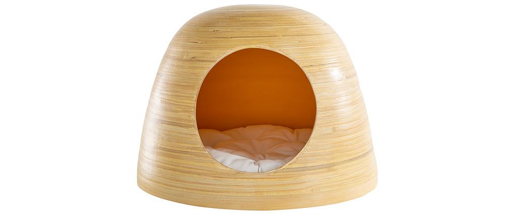 Niche pour chat et chien design en bambou laquée jaune moutarde YODO