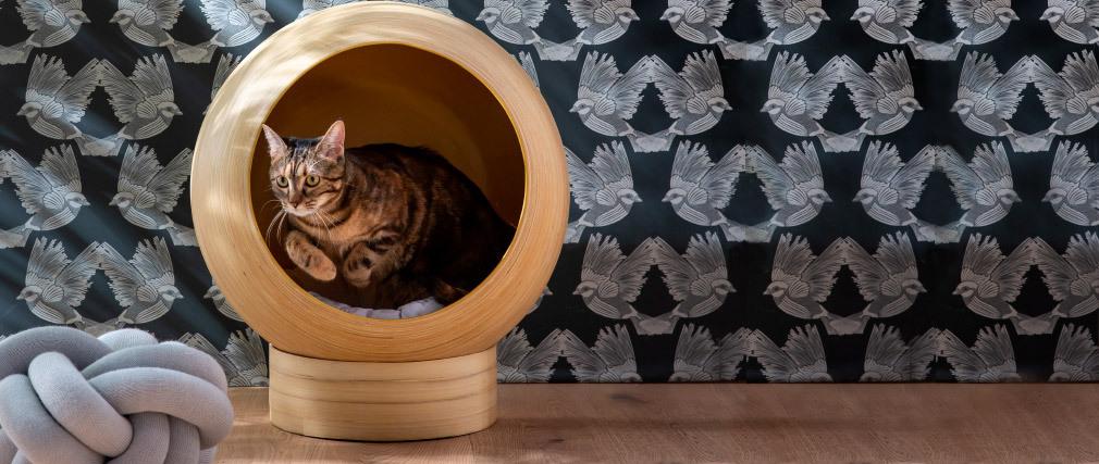 Niche pour chat et chien en bambou laquée bleu canard POPPINS