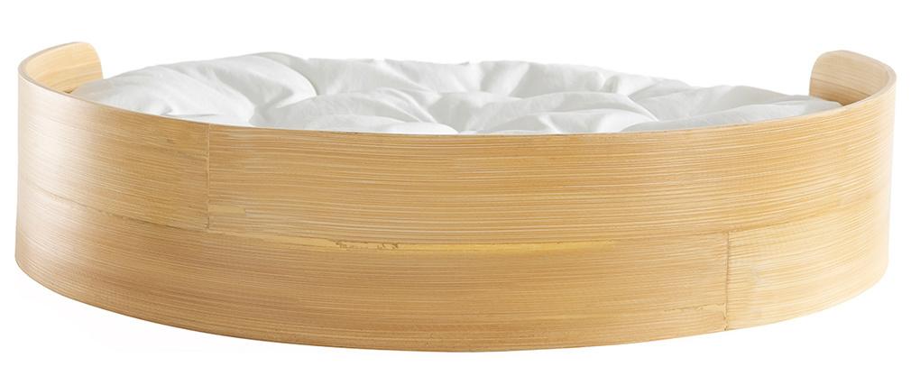 Panier pour chat et chien en bambou avec coussin blanc GOA