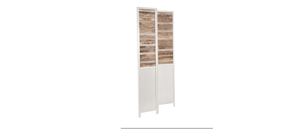 paravent bois et m tal blanc rochelle miliboo. Black Bedroom Furniture Sets. Home Design Ideas
