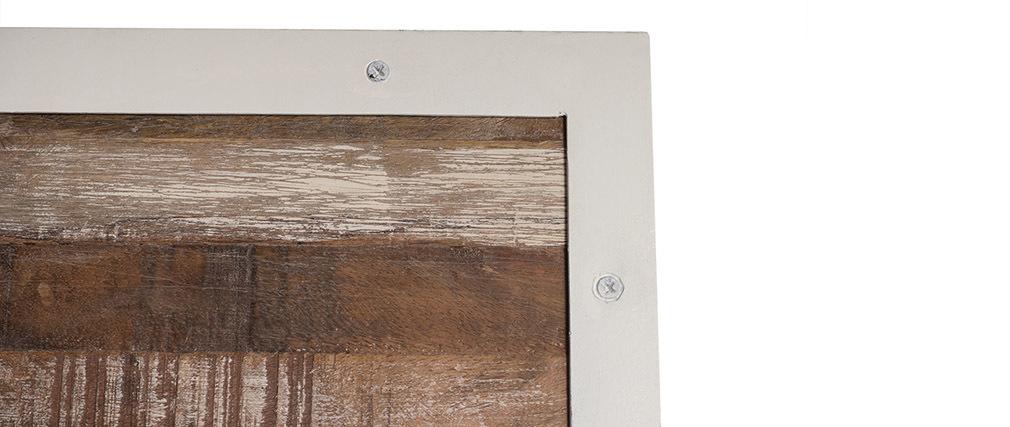 Paravent bois et métal blanc ROCHELLE