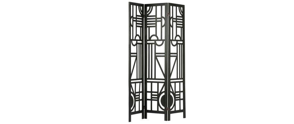 Paravent en bois noir avec motifs géométriques H170 cm KEOPS