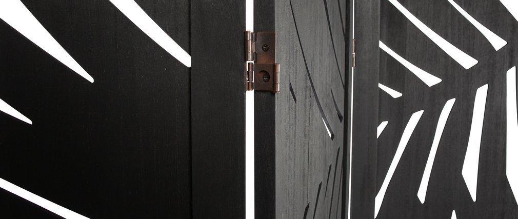 Paravent en bois noir avec motifs végétaux H170 cm HILO