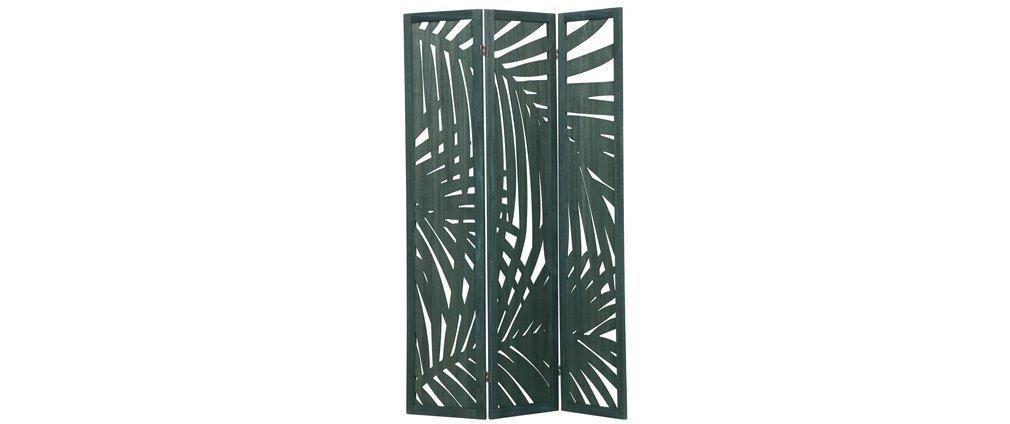 Paravent en bois vert avec motifs végétaux H170 cm HILO