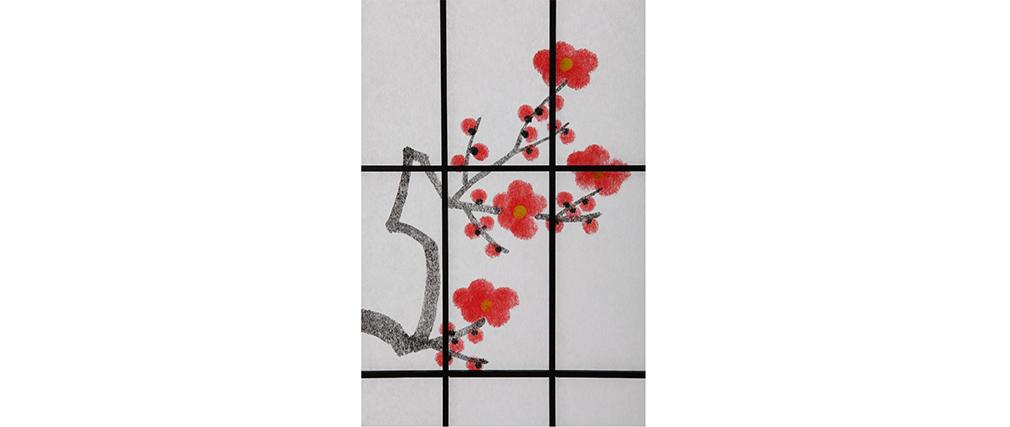 Paravent japonais en bois noir et papier sakura miliboo - Paravent japonais ikea ...