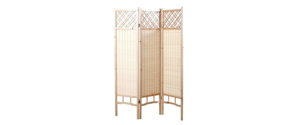 paravent japonais en sapin et bambou new niha miliboo. Black Bedroom Furniture Sets. Home Design Ideas