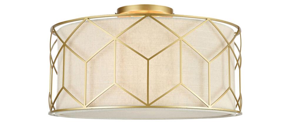 Plafonnier design blanc avec ornement graphique doré MESSINA