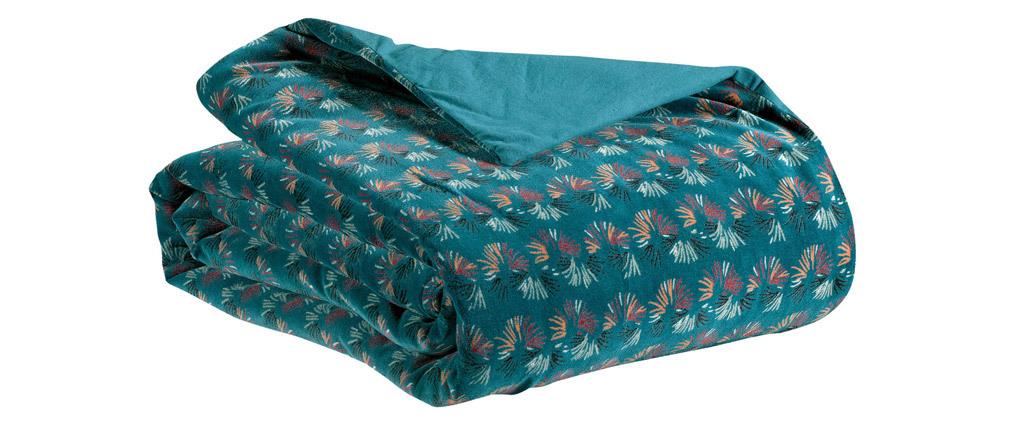 Plaid à motifs velours bleu 135 x 200 cm PAON