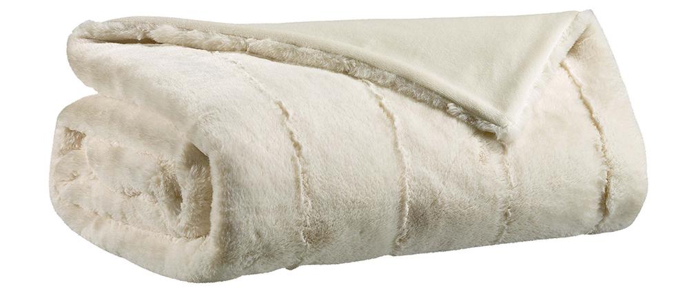 Plaid doux ivoire 140 x 180 cm CALIN