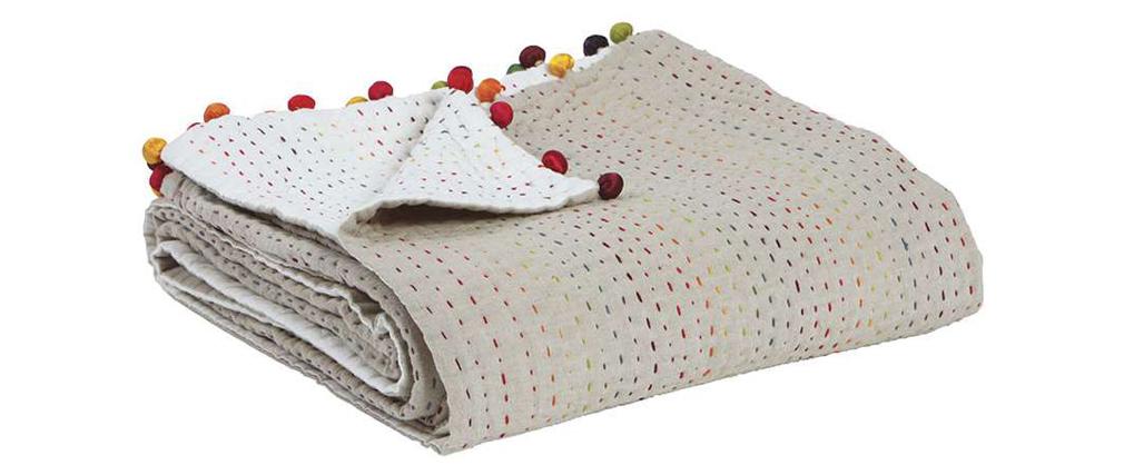 Plaid en coton avec pompons multicolores 140 x 200 cm FILEA
