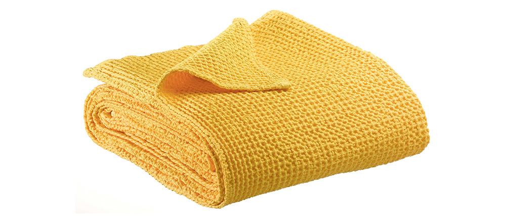 Plaid en coton jaune 140 x 200 cm YAM