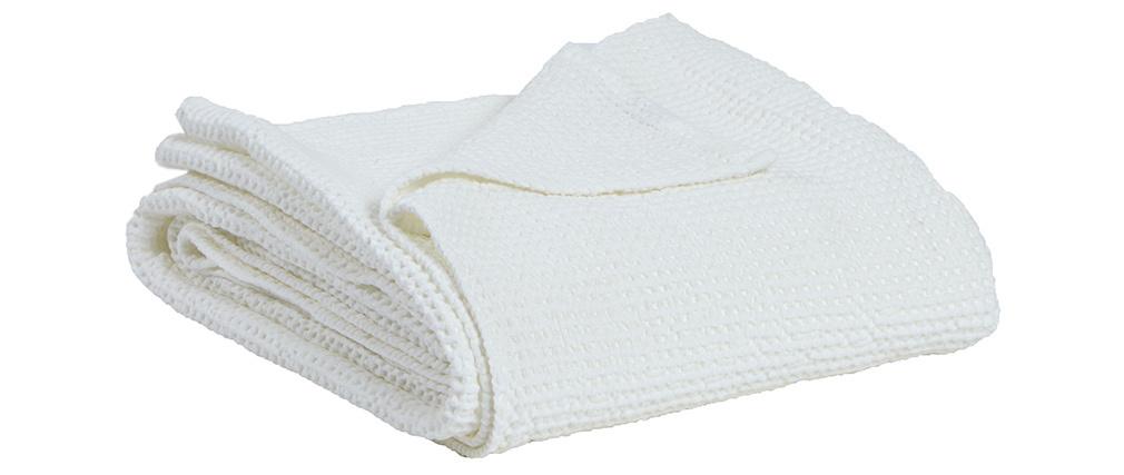 Plaid en coton lavé blanc cassé 140 x 200 cm YAM