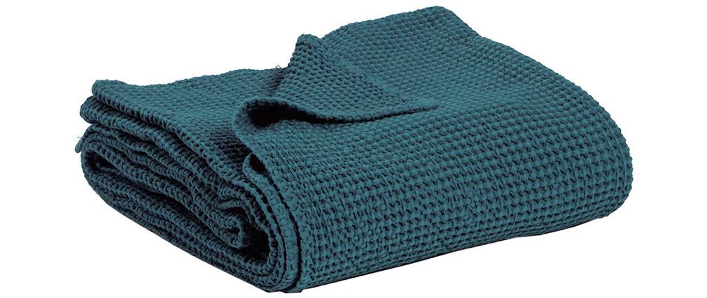 Plaid en coton lavé bleu topaze 140 x 200 cm YAM