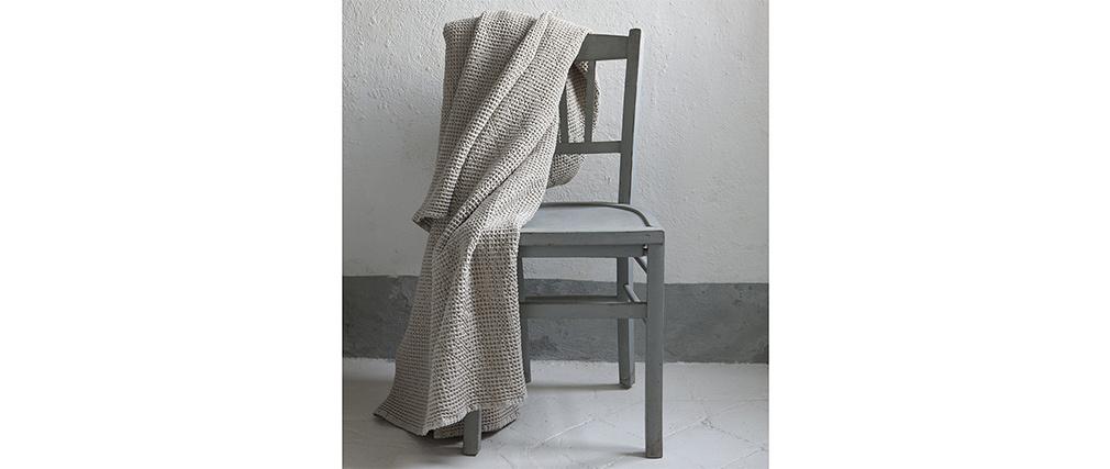 Plaid en coton lavé couleur lin 140 x 200 cm YAM